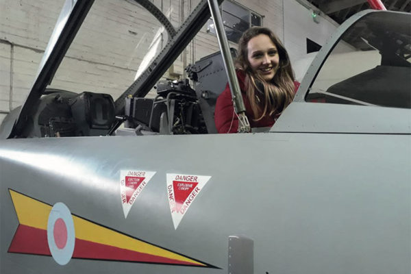 Lady in cockpit of aircraft at Boscombe Down